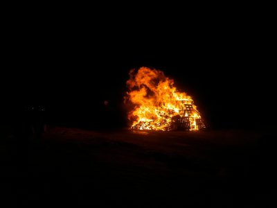 Bonfire on New Year's Eve in Hvammstangi